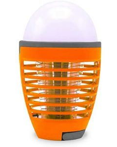 Himalayan Glow Bug Zapper 2-in-1 Rechargeable, Electric Insect Suitable for Indoor and Outdoor, Mosquito Killer Light Bulb for Home, Office and Restaurants, Orange
